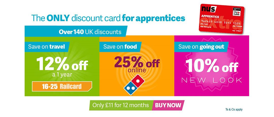 Apprentices entitled to a NUS Apprentices Extra card for discounts